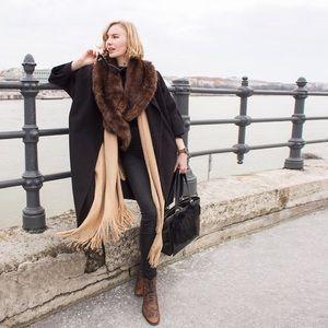Zara Brown Faux Fur Wrap Scarf